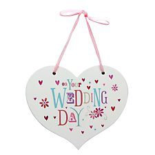 Hanging Heart Shaped Wedding Day Plaque