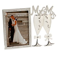Crystal & Epoxy Frame with Mr & Mrs Champagne Flutes
