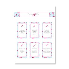 Vintage Rose A3 Wedding Table Plan
