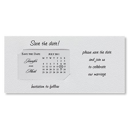 White Calendar Save The Date Magnet Landscape