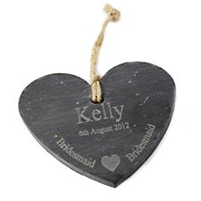 Bridesmaid Slate Heart Decoration (Personalised)