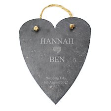 Heart Motif Slate Decoration (Personalised)