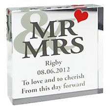 Mr & Mrs Large Crystal Block (Personalised)