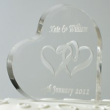 Engraved Heart Shaped Cake Topper