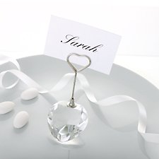Crystal Heart Shaped Place Card Holder