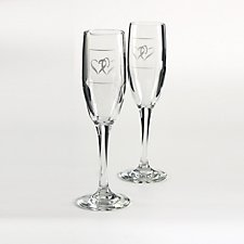 Linked at the Heart Champagne Flutes