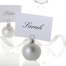 Matt Silver Bauble Place Card Holder