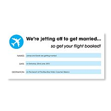 Holiday Ticket Sky Blue Wedding Invitation