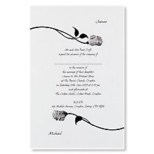 Silver Forever Floral wedding invitation