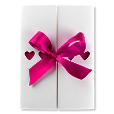 ribbons fuchsia wedding invitation